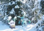 arms_up blue_eyes commentary creature english_commentary gen_4_pokemon glaceon green_eyes milka_(milk4ppl) no_humans photo pokemon pokemon_(creature) scenery snover snow standing tree