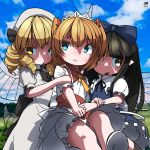 3girls arm_holding ascot back_bow black_bow black_hair blonde_hair bloomers blue_bow blue_eyes blue_sky blush boots bow clouds collar dress drill_hair fairy_wings frilled_collar frilled_dress frilled_sleeves frills hair_bow highres holding_hands huxiao_(mistlakefront) long_hair luna_child multiple_girls open_mouth orange_hair puffy_short_sleeves puffy_sleeves ribbon short_sleeves sky star_sapphire sunny_milk touhou twintails underwear white_headwear wings yellow_eyes