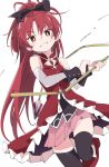 1girl black_bow black_legwear blush bow eyebrows_visible_through_hair hair_bow holding holding_weapon ixy long_hair looking_at_viewer magical_girl mahou_shoujo_madoka_magica pink_skirt ponytail red_eyes redhead sakura_kyouko simple_background skirt smile solo weapon white_background