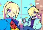 2girls blonde_hair blue_eyes blue_jacket can casual crossover crown denaseey eyeshadow hair_over_one_eye hand_in_pocket jacket makeup mario_(series) metroid mole mole_under_mouth multiple_girls ponytail puckered_lips rosalina samus_aran self_shot smile soda_can super_mario_galaxy super_smash_bros. varia_suit