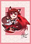 1girl animal_ears artist_name bangs bare_shoulders blush brooch brown_hair chibi collarbone dress eyebrows_visible_through_hair fang hair_between_eyes imaizumi_kagerou jewelry long_hair looking_at_viewer off-shoulder_dress off_shoulder open_mouth patterned_background paw_pose pink_background red_eyes signature smile solo tail touhou werewolf wolf wolf_ears wolf_tail xanadu_avici