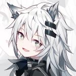 1girl animal_ear_fluff animal_ears arknights black_jacket grey_eyes hair_ornament hairclip jacket kurisu_tina lappland_(arknights) long_hair looking_at_viewer looking_to_the_side open_mouth portrait smile solo white_hair wolf_ears zoom_layer
