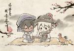 2boys arjuna_(fate/grand_order) bird black_hair blanket bottle chibi chick chicken cup dark_skin dark_skinned_male fate/grand_order fate_(series) hanbok highres karna_(fate) korean_clothes korean_traditional_hat male_focus multiple_boys parody sakazuki sake_bottle style_parody table uuruung white_hair