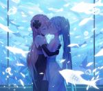 2girls aquarium arms_around_back black_dress black_gloves blue_hair closed_eyes collar commentary cowboy_shot dress elbow_gloves english_commentary flying_fish gloves glowing hair_ornament hands_on_another's_shoulders hatsune_miku highres kiss light_blush long_hair megurine_luka multiple_girls mutual_hug neriw pink_hair strapless strapless_dress twintails very_long_hair vocaloid white_dress yuri