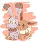 :3 brown_background brown_eyes bunnelby creature eevee eye_contact flower full_body gen_1_pokemon gen_6_pokemon looking_at_another mizuto_(o96ap) no_humans pokemon pokemon_(creature) rabbit standing