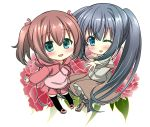 2girls bangs beige_shirt black_hair black_legwear blue_eyes blush boots brown_hair brown_skirt capelet chibi commentary_request eyebrows_visible_through_hair floral_background flower_request green_eyes hair_between_eyes hair_ribbon hood hoodie kayura_yuka layered_skirt long_hair long_skirt looking_at_viewer multiple_girls one_eye_closed open_mouth original outstretched_arms pantyhose pink_shirt pink_skirt plaid plaid_skirt ribbon shirt short_hair side_ponytail sidelocks simple_background skirt smile thigh-highs two_side_up very_long_hair white_background
