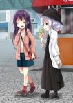 2girls akatsuki_(kantai_collection) alternate_costume alternate_hairstyle bag blue_eyes boots cardigan casual crepe dress food hair_up hat hibiki_(kantai_collection) jacket kantai_collection kurona loafers long_dress long_hair multiple_girls no_hat no_headwear open_mouth purple_hair shoes shoulder_bag silver_hair skirt smile