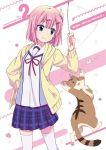 1girl cat character_name chiyoda_momo copyright_name hair_ornament hairclip jacket machikado_mazoku official_art pink_hair school_uniform shiny shiny_hair short_hair skirt