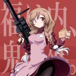 1girl 547th_sy apron background_text bangs beans black_legwear blush braid breasts brown_eyes cloud_hair_ornament cloud_print clouds eyebrows_visible_through_hair gradient_hair gun hair_ornament highres holding holding_gun holding_weapon kantai_collection light_brown_hair long_hair long_sleeves masu medium_breasts minegumo_(kantai_collection) multicolored_hair pantyhose pink_apron red_background red_sweater setsubun solo sweater turtleneck turtleneck_sweater twin_braids weapon