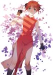 1girl absurdres black_gloves black_legwear blue_eyes brown_hair china_dress chinese_clothes closed_mouth daylight919 dress eyebrows_visible_through_hair fingerless_gloves flower from_above gintama gloves highres kagura_(gintama) kneehighs looking_at_viewer lying on_back purple_flower red_dress shiny shiny_hair short_hair side_slit simple_background sleeveless sleeveless_dress smile solo white_background