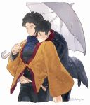 2boys black_hair black_pants blue_scarf closed_eyes facial_hair highres hug hug_from_behind leeis_cool male_focus mob_psycho_100 multiple_boys pants red_scarf scarf serizawa_katsuya shimazaki_ryo simple_background stubble twitter_username umbrella white_background yaoi
