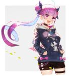 1girl :d absurdres ahoge bangs black_bow black_shorts blunt_bangs blush bow braid choker cowboy_shot eyebrows_visible_through_hair floating_hair hair_bow hands_in_pockets highres hololive hood hood_down hooded_sweater jun_wei long_hair minato_aqua open_mouth pink_eyes pink_neckwear purple_hair shiny shiny_hair short_shorts shorts smile solo standing sweater thigh_strap twintails very_long_hair virtual_youtuber white_background