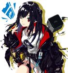 1girl arknights belt black_hair closure_(arknights) commentary_request cube demon_tail demon_wings id_card jacket koka_(rikku-file) long_hair looking_at_viewer one_eye_closed pointy_ears red_eyes simple_background solo tail tongue tongue_out utility_belt white_background wings