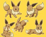 :3 :d ^_^ all_fours brown_eyes closed_eyes creature eevee full_body gen_1_pokemon happy highres lying mizuto_(o96ap) no_humans on_back on_stomach open_mouth pokemon pokemon_(creature) simple_background smile too_many yellow_background