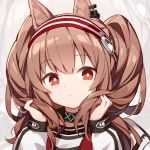 1girl angelina_(arknights) animal_ears arknights brown_hair choker expressionless headband jacket kurisu_tina long_hair long_sleeves looking_at_viewer portrait red_eyes solo twintails white_jacket zoom_layer
