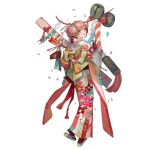 1girl alternate_costume bangs blue_eyes braid carcano_m1891_(girls_frontline) commentary_request flower french_braid from_behind full_body girls_frontline gloves hair_flower hair_ornament hair_ribbon japanese_clothes kimono kimono_skirt long_sleeves looking_back new_year nishihara_isao official_art open_mouth pink_hair pink_kimono red_gloves ribbon sandals shrine_bell smile socks transparent_background