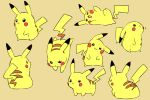 :3 :d black_eyes blush_stickers creature full_body gen_1_pokemon head_tilt looking_at_viewer lying mizuto_(o96ap) no_humans on_side open_mouth pikachu pokemon pokemon_(creature) simple_background smile standing too_many too_many_pikachu yellow_theme