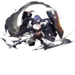 1girl baggy_clothes bangs black_footwear black_legwear blue_eyes blue_hair boots braid breasts dp-12_(girls_frontline) drone exoskeleton floating_hair girls_frontline gun hair_over_shoulder hairband high_heel_boots high_heels holding holding_gun holding_weapon jacket large_breasts long_hair looking_afar looking_to_the_side multicolored_hair official_art one_knee pandea_work pantyhose pump_action purple_jacket shield shotgun sidelocks single_braid skindentation skirt sleeveless smoke solo squatting standard_manufacturing_dp-12 thigh-highs thigh_strap torn_clothes transparent_background turtleneck weapon white_hairband wind