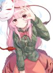 1girl absurdres bangs bow bowtie breasts bubble_skirt expressionless fox_mask green_shirt hand_up hata_no_kokoro highres long_hair long_sleeves looking_at_viewer mask medium_breasts pink_eyes pink_hair plaid plaid_shirt red_neckwear shirt simple_background skirt solo star tassel touhou very_long_hair white_background z_loader
