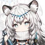 1girl animal_ear_fluff animal_ears arknights bell cat_ears grey_eyes hair_ornament holding jewelry kurisu_tina long_hair looking_at_viewer multicolored_hair necklace portrait pramanix_(arknights) scarf solo two-tone_hair white_hair zoom_layer