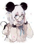 1girl adjusting_eyewear animal_ears ars_almal black-framed_eyewear blue_eyes blue_ribbon captain_yue closed_mouth eyebrows_visible_through_hair fake_animal_ears glasses grey_hair hairband long_sleeves looking_at_viewer mouse_ears nijisanji ribbon short_hair smile solo tongue tongue_out twitter_username upper_body