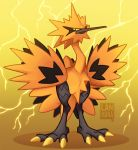 2020 bird bird_focus claws commentary creature electricity english_commentary full_body galarian_form galarian_zapdos gen_8_pokemon gradient gradient_background lanmana looking_at_viewer no_humans pokemon pokemon_(creature) serious signature solo standing thunder yellow_background yellow_eyes yellow_theme