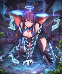 1girl all_fours bangs bare_shoulders black_dress black_gloves black_headwear black_legwear blue_eyes blue_fire blunt_bangs blush breasts center_opening dress elbow_gloves fate/grand_order fate_(series) fire fish floral_print flute gloves hair_ornament halo instrument kneeling large_breasts leaf_hair_ornament long_hair looking_at_viewer parted_lips plant purple_hair renze_l sash smile solo thigh-highs thighs very_long_hair water yang_guifei_(fate/grand_order)