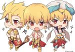 3boys archer_(fate/prototype) armor blonde_hair blush chibi ea_(fate/stay_night) earrings fate/grand_order fate/hollow_ataraxia fate/prototype fate_(series) gilgamesh gilgamesh_(caster)_(fate) greaves hat jewelry male_focus midriff multiple_boys multiple_persona necklace red_eyes shirtless tattoo uuruung vest