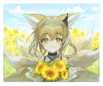 1girl animal_ears arknights bangs bare_shoulders black_choker blue_hairband border braid choker colored_tips commentary dress eyebrows_visible_through_hair flower fox_ears fox_tail green_eyes hair_rings hairband highres holding holding_flower kitsune kyuubi looking_at_viewer multicolored_hair multiple_tails outdoors smile solo soyoong_jun sunflower suzuran_(arknights) tail twin_braids upper_body white_dress white_hair