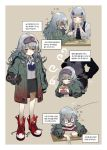 2girls ^_^ absurdres blush bsue closed_eyes closed_mouth eyebrows_visible_through_hair facing_another g11_(girls_frontline) girls_frontline grey_hair highres hk416_(girls_frontline) korean_text long_hair looking_at_viewer messy_hair multiple_girls open_mouth red_footwear shoes sneakers translation_request wavy_hair