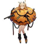 ?? ahoge alternate_costume blonde_hair blush chain demon_horns dual_wielding embarrassed full_body girls_frontline gun hair_between_eyes halloween halloween_costume holding horns jack-o'-lantern leg_warmers m870_(girls_frontline) official_art open_mouth orange_footwear pumpkin remington_870 remington_arms shotgun sweat sweatdrop transparent_background twintails waterkuma weapon