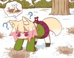 1girl ? all_fours animal_ear_fluff animal_ears bangs black_footwear blonde_hair blush bone boots brown_scarf eyebrows_visible_through_hair fish fox_ears fox_girl fox_tail green_shirt hair_bun hair_ornament hole kemomimi-chan_(naga_u) long_hair long_sleeves naga_u original pleated_skirt purple_skirt red_eyes ribbon-trimmed_legwear ribbon_trim scarf shirt skirt sleeves_past_fingers sleeves_past_wrists snow solo sparkle tail thigh-highs thighhighs_under_boots tree white_legwear