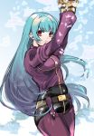 1girl arms_up blue_hair bodysuit comkk99 gloves kula_diamond long_hair red_eyes solo the_king_of_fighters