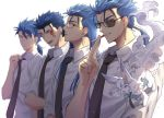 4boys alternate_costume animal animal_on_shoulder bespectacled blue_hair cigarette cu_chulainn_(fate)_(all) cu_chulainn_(fate/grand_order) cu_chulainn_(fate/prototype) cu_chulainn_alter_(fate/grand_order) dress_shirt earrings facial_mark fang fate/grand_order fate/prototype fate/stay_night fate_(series) formal fou_(fate/grand_order) glasses hair_down highres jewelry lancer long_hair male_focus multiple_boys multiple_persona necktie ponytail red_eyes shirt smoking sunglasses uuruung