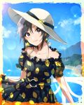 1girl anaroguya bangs beach black_dress blue_sky blurry blurry_background brown_eyes closed_mouth clouds collarbone day dress earrings eyebrows_visible_through_hair grey_hair hair_between_eyes halterneck head_tilt highres idolmaster idolmaster_(classic) jewelry kikuchi_makoto lemon_print looking_at_viewer ocean outdoors print_dress shiny shiny_hair short_hair short_sleeves sky smile solo sparkle standing sundress