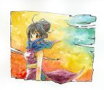 1girl aqua_background armpit_peek arms_at_sides bangs bare_arms bare_shoulders black_eyes black_hair blue_neckwear blunt_bangs border calligraphy_brush_(medium) chi-chi_(dragon_ball) china_dress chinese_clothes closed_mouth colorful dragon_ball dragon_ball_z dress expressionless eyelashes floating_hair gradient gradient_background green_background hair_bun looking_back multicolored multicolored_background neckerchief nib_pen_(medium) orange_background purple_dress red_background rkgkden simple_background sleeveless sleeveless_dress solo traditional_media upper_body watercolor_(medium) white_border yellow_background