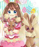 1girl :d animal_ears bangs blue_eyes blush brown_hair buneary choker dress easter eyebrows_visible_through_hair fake_animal_ears gen_4_pokemon highres kokashiho lopunny may_(pokemon) open_mouth pink_choker pink_dress pokemon pokemon_(creature) pokemon_(game) pokemon_masters_ex pokemon_oras rabbit_ears smile wrist_cuffs