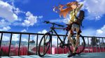 1girl absurdres bag bicycle black_bag blue_eyes blue_shorts blue_sky closed_mouth clothes_around_waist clouds day denim denim_shorts floating_hair full_body ground_vehicle hair_between_eyes hair_ornament hand_in_hair highres holding holding_bag jewelry long_hair necklace neon_genesis_evangelion orange_hair outdoors shirt shoes short_shorts short_sleeves shorts sky smile sneakers solo souryuu_asuka_langley standing torn_clothes torn_shorts twintails very_long_hair yellow_shirt