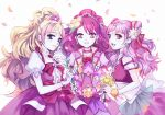3girls back_bow blonde_hair blue_eyes bow choker closed_mouth collarbone cowboy_shot cure_flora cure_grace cure_yell double_bun dress earrings flower flower_earrings flower_necklace gloves go!_princess_precure hair_bun hair_flower hair_ornament hair_ribbon hanadera_nodoka haruno_haruka healin'_good_precure heart heart_hair_ornament holding holding_flower hu_(huhuluhu) hugtto!_precure jewelry layered_skirt lily_(flower) long_hair looking_at_viewer magical_girl midriff multicolored_hair multiple_girls navel necklace nono_hana open_mouth petals pink_bow pink_dress pink_eyes pink_hair pink_neckwear pink_skirt pink_theme precure puffy_sleeves red_flower red_ribbon red_rose ribbon rose simple_background skirt smile streaked_hair trait_connection two-tone_hair waist_bow wavy_hair white_background white_bow white_gloves wrist_cuffs