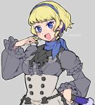 1girl artist_name blonde_hair blue_eyes blue_hairband constance_(fire_emblem) do_m_kaeru earrings fan fire_emblem fire_emblem:_three_houses garreg_mach_monastery_uniform grey_background hairband holding jewelry long_sleeves multicolored_hair open_mouth purple_hair short_hair simple_background solo uniform