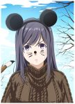 1girl absurdres animal_ears black_hair brush choujo_(kakitama) clouds commentary_request facepaint fake_animal_ears frown highres kakitama long_hair looking_at_viewer mole mole_under_eye mouse_ears original pout sky solo sweater tree violet_eyes whisker_markings