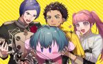 1girl 1other 2boys arrow blue_hair bow_(weapon) brown_hair claude_von_riegan dark_skin dark_skinned_male earrings fire_emblem fire_emblem:_three_houses garreg_mach_monastery_uniform green_eyes highres hilda_valentine_goneril holding jewelry kirby kirby_(series) long_hair long_sleeves lorenz_hellman_gloucester multiple_boys open_mouth pink_eyes pink_hair purple_hair shn64108482 short_hair super_smash_bros. twintails uniform violet_eyes weapon
