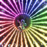 abstract_background air_bubble bangs bare_legs blue_eyes blue_hair blue_skirt blue_vest blurry blurry_foreground bubble circle commentary danmaku energy_beam floating full_body geta glowing glowing_eye hands_up highres holding holding_umbrella juliet_sleeves karakasa_obake laser legs_up light_particles long_sleeves looking_at_viewer no_socks one_eye_closed oriental_umbrella puffy_sleeves rainbow_gradient rainbow_order shirt short_hair single_sock skirt socks spell_card sunyup tatara_kogasa tongue tongue_out touhou umbrella vest white_legwear white_shirt wide_shot