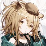 1girl animal_ears arknights bare_shoulders black_shirt brown_eyes brown_hair choker green_jacket jacket kurisu_tina lion_ears lion_paw long_hair looking_at_viewer mouth_hold off_shoulder portrait shirt siege_(arknights) solo tank_top zoom_layer