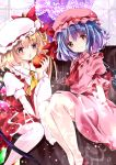 2girls apple blonde_hair blue_hair blush bow closed_mouth collared_shirt crystal curtains flandre_scarlet food frilled_shirt_collar frills fruit hair_bow hat holding holding_food long_hair mob_cap multiple_girls nanase_nao no_shoes one_side_up parted_lips pink_headwear pink_shirt pink_skirt puffy_short_sleeves puffy_sleeves red_apple red_bow red_eyes red_footwear red_skirt red_vest remilia_scarlet sample shirt shoes short_sleeves siblings sisters sitting skirt skirt_set smile thigh-highs touhou vest white_headwear white_legwear white_shirt wings