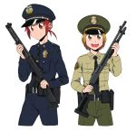 2girls absurdres badge belt_pouch benelli_m1014 futari_wa_precure futari_wa_precure_max_heart gun hat highres hino_akane_(smile_precure!) holding holding_weapon holster holstered_weapon knee_up misumi_nagisa multiple_girls necktie peaked_cap police police_uniform pouch precure remington_870 shotgun shoulder_patches smile_precure! uniform weapon white_background
