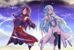 2girls :d asuna_(sao-alo) bangs blue_eyes blue_hair blue_legwear braid breastplate cape closed_mouth covered_navel crown_braid detached_sleeves eyebrows_visible_through_hair fingerless_gloves floating_hair gloves hair_between_eyes hair_intakes headband holding holding_wand leotard long_hair long_sleeves looking_at_viewer miniskirt multiple_girls open_mouth outdoors outstretched_arms outstretched_hand pleated_skirt pointy_ears purple_cape purple_gloves purple_hair purple_legwear purple_leotard purple_sleeves red_eyes red_headband shiny shiny_hair skirt smile sword_art_online thigh-highs very_long_hair waist_cape wand white_skirt white_sleeves yoruciel yuuki_(sao) zettai_ryouiki