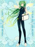 androgynous blue_background covered_navel elf full_body gradient_hair green_eyes green_hair hair_over_one_eye hand_up kerberos_blade l_(matador) long_hair looking_at_viewer multicolored_hair pointy_ears pouch simple_background sleeveless solo standing very_long_hair wristband