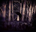 1girl acrylic_paint_(medium) black_umbrella calligraphy_brush_(medium) grass greyscale holding holding_umbrella minazqy monochrome outdoors profile shiva_(totsukuni_no_shoujo) solo totsukuni_no_shoujo traditional_media tree umbrella