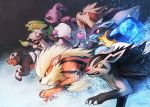 arcanine black_eyes brown_eyes claws creature dog electrike energy energy_ball fangs from_side furfrou gen_1_pokemon gen_2_pokemon gen_3_pokemon gen_4_pokemon gen_5_pokemon gen_6_pokemon granbull haychel heart houndour lucario mightyena no_humans pokemon pokemon_(creature) profile red_eyes signature smeargle stoutland trait_connection watermark web_address